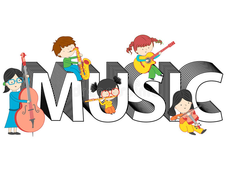 Children and kids playing and sitting on music text vector illustration royalty free illustration