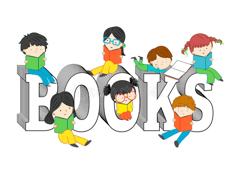 Children and kids reading and sitting on books text royalty free stock photo