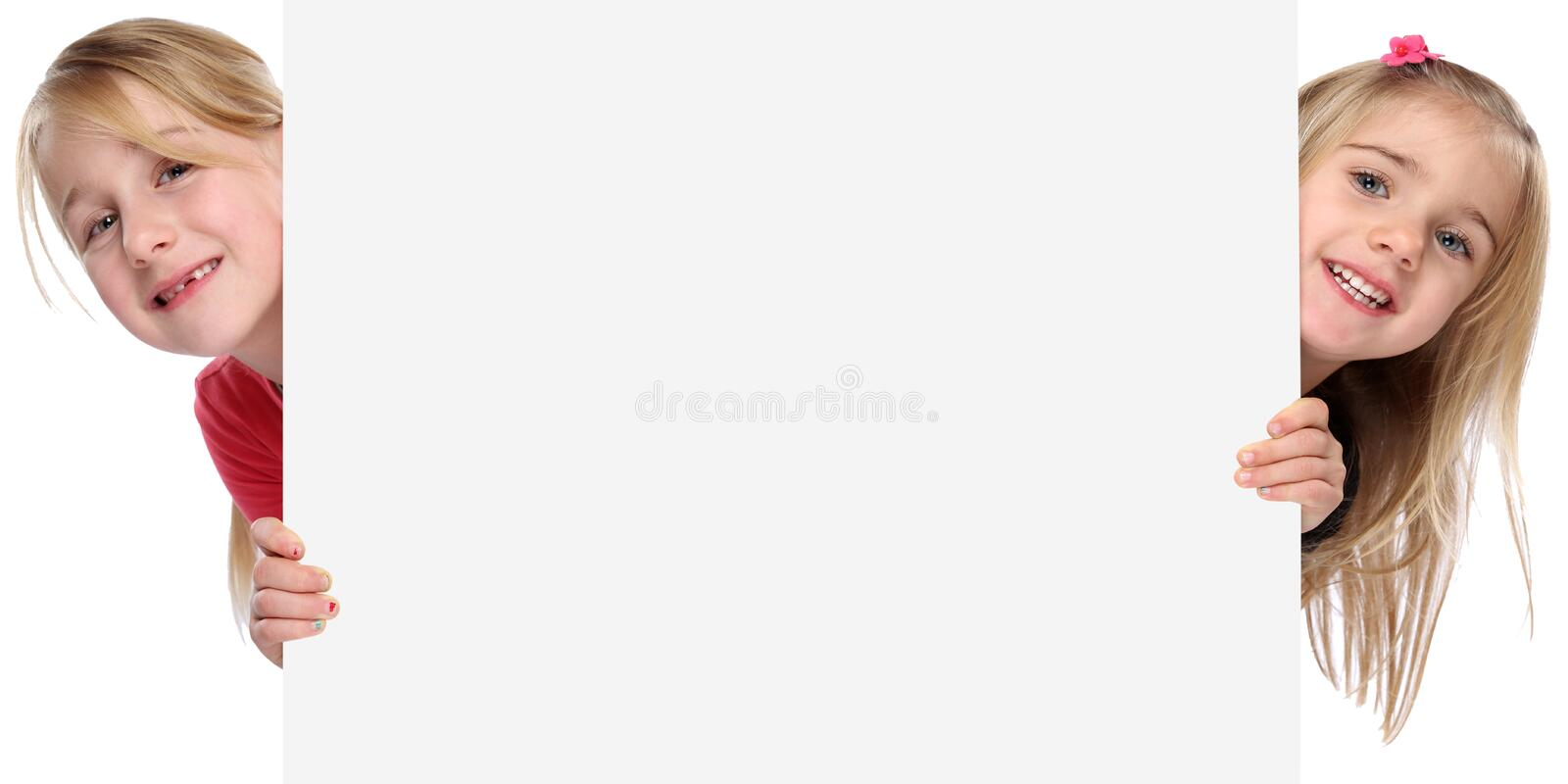Children kids smiling young girls copyspace copy space marketing. Empty blank sign isolated on a white background royalty free stock image