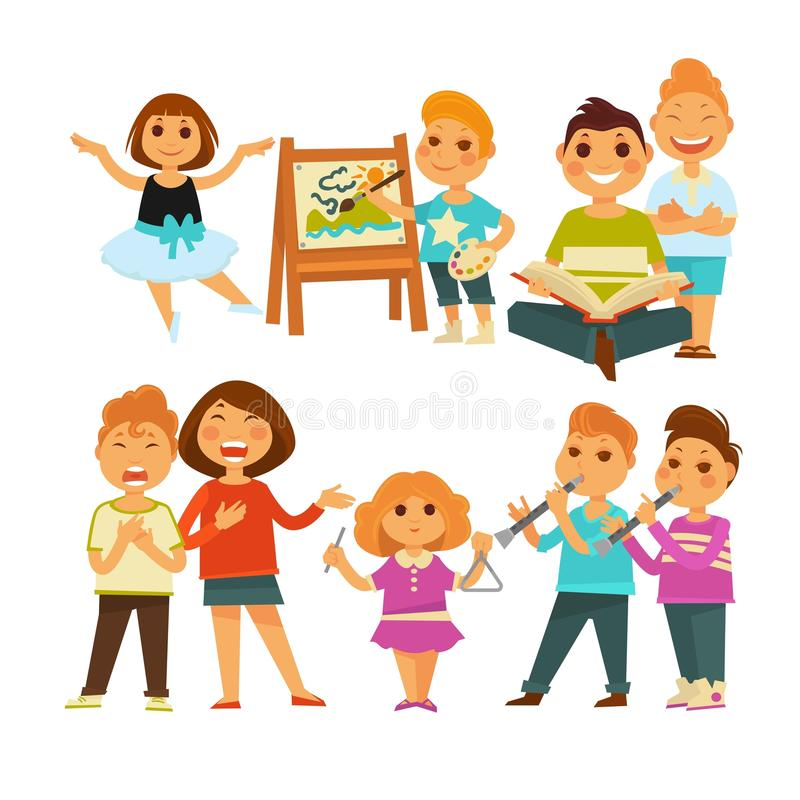 Children kindergarten or school playing activity vector flat icons set. Children in kindergarten or school. Girls and boys playing games at lessons of singing vector illustration