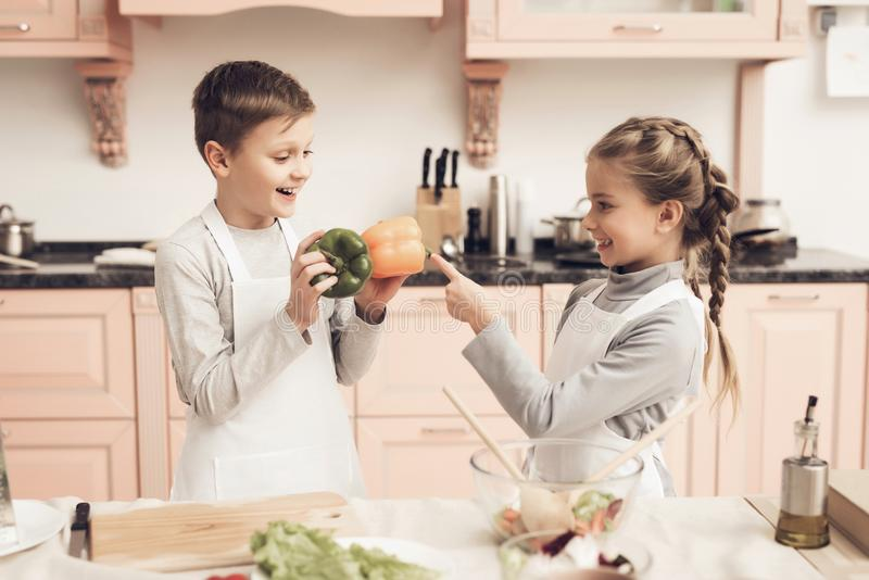 Children in kitchen. Brother is holding peppers and sister is choosing. Children at kitchen table in kitchen. Brother is holding peppers and sister is choosing stock images