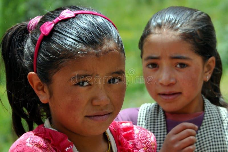 Children from Ladakh (Little Tibet), India stock photography