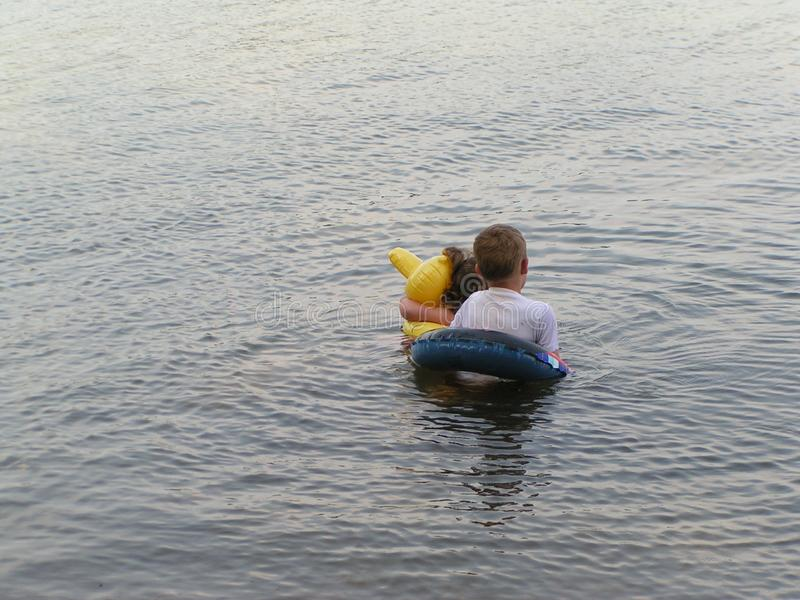 Children In Lake Stock Photos