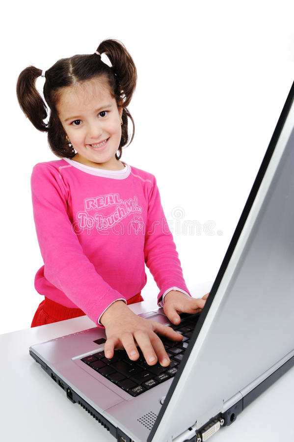 Download Children on laptop stock illustration. Image of educate - 12782673