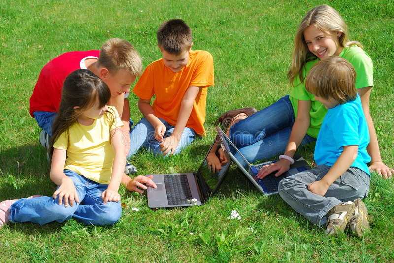 Children With Laptop Computers royalty free stock image