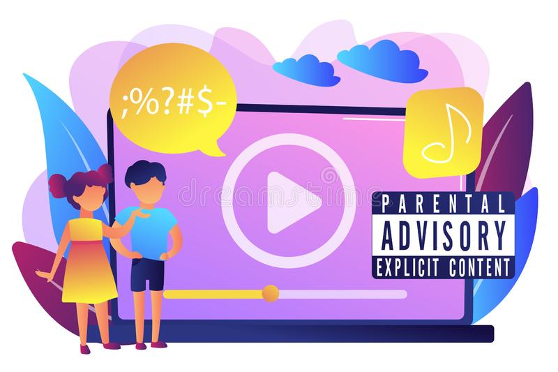 Parental advisory music concept vector illustration. royalty free illustration