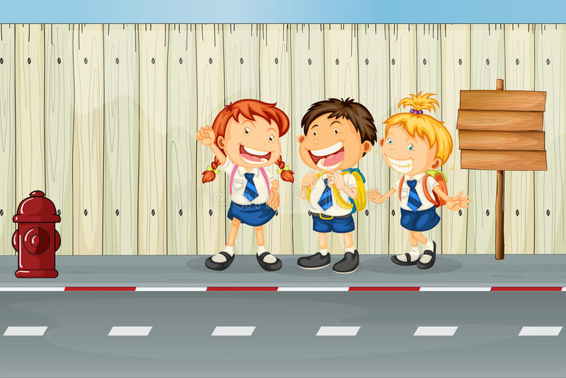 Download Children Laughing Along The Road Stock Images - Image: 32709284
