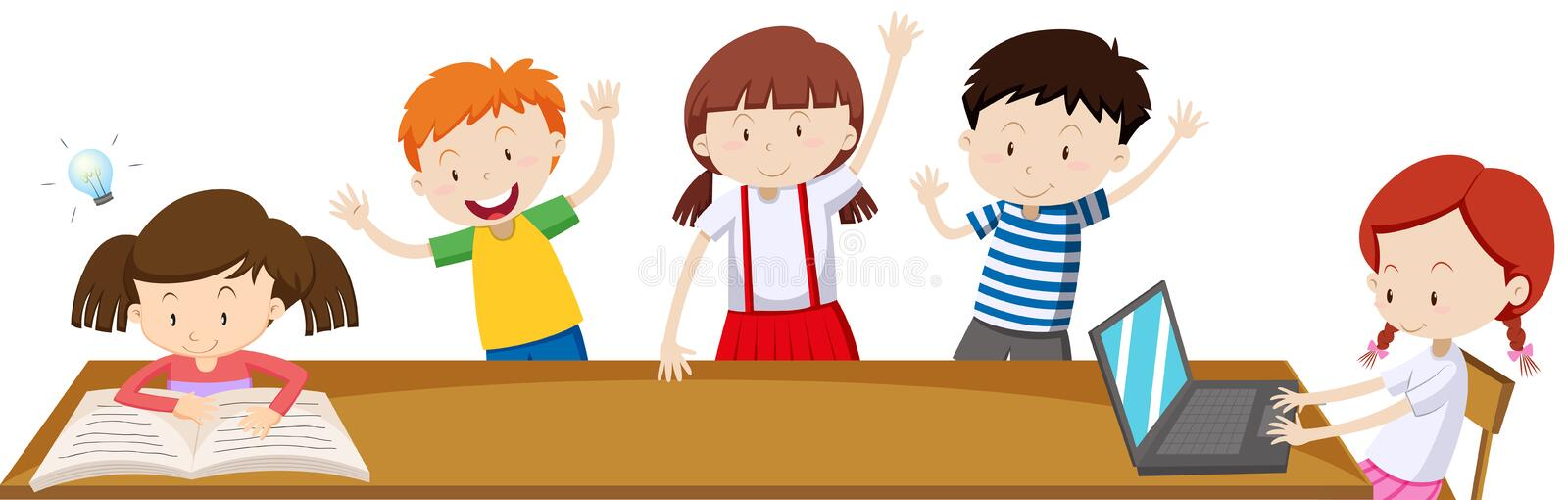 Children learning in the classroom vector illustration