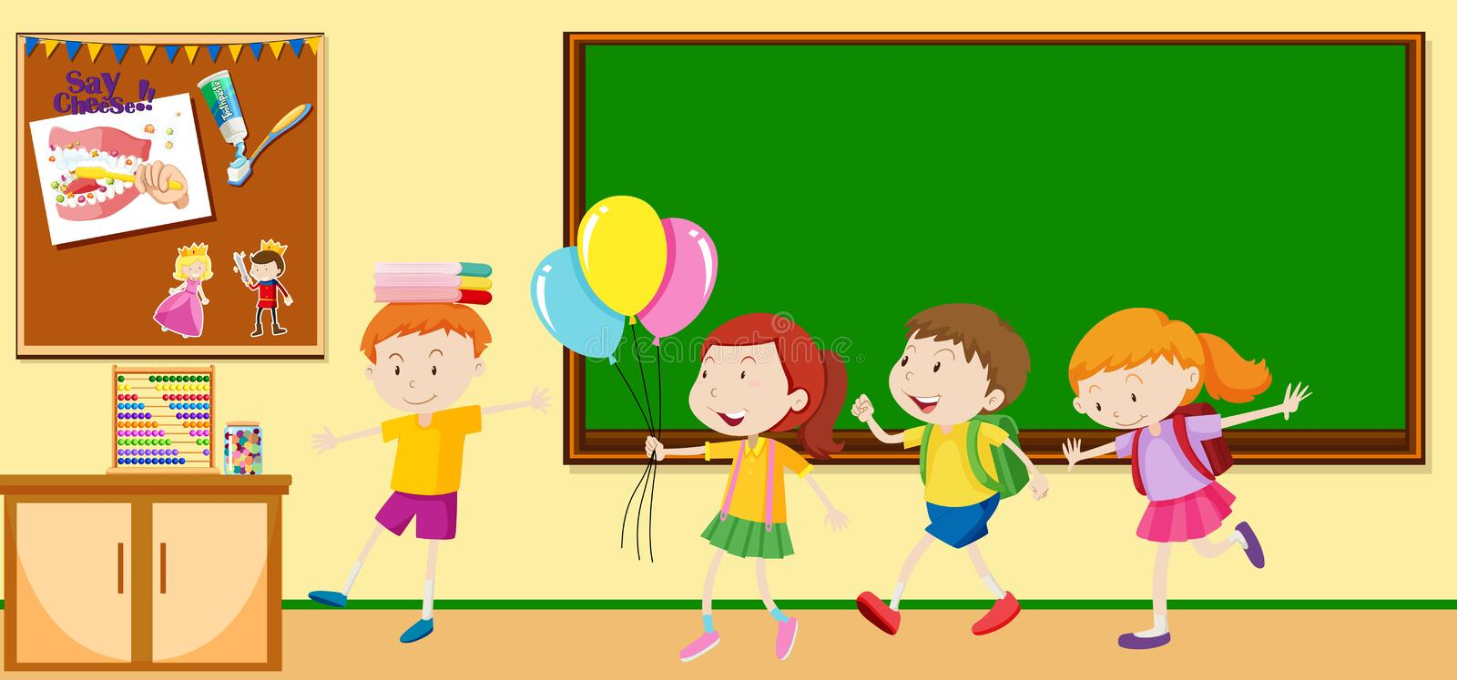 Children learning in the classroom royalty free illustration