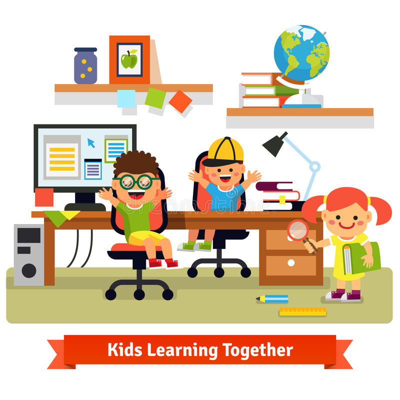 Children learning and doing projects together. Kids research base concept. Children learning and doing projects together in their room with working desk, desktop royalty free illustration