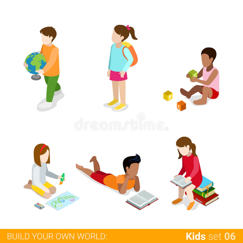 Children learning studying making classes homework. Flat web infographic concept vector icon set. Creative people collection vector illustration