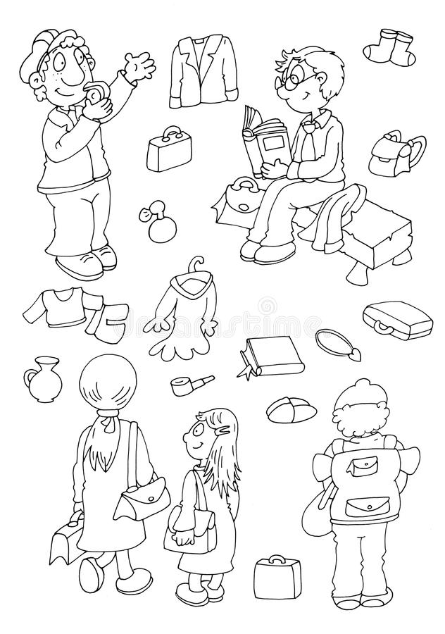 Children leaving the backpacks and suitcases Station dad reading a book waiting for the train. Chine coloring humorous children for books and teaching school stock illustration