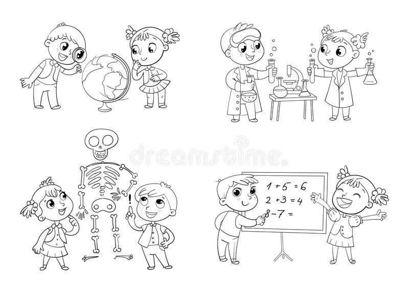 Children in the lesson of geography, chemistry, mathematics and biology. Funny cartoon character. Vector illustration. on white background. Coloring book stock illustration