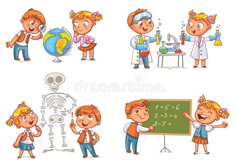 Children in the lesson of geography, chemistry, mathematics and biology. Funny cartoon character. Vector illustration. on white background stock illustration