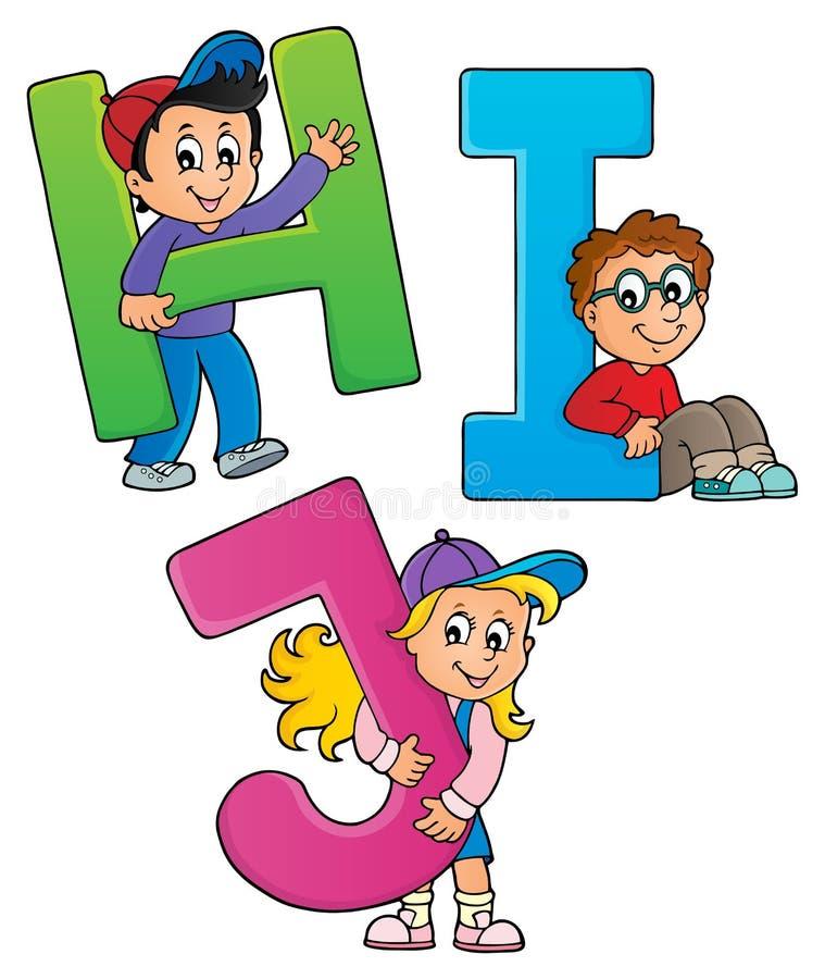 Children with letters HIJ. Eps10 vector illustration vector illustration