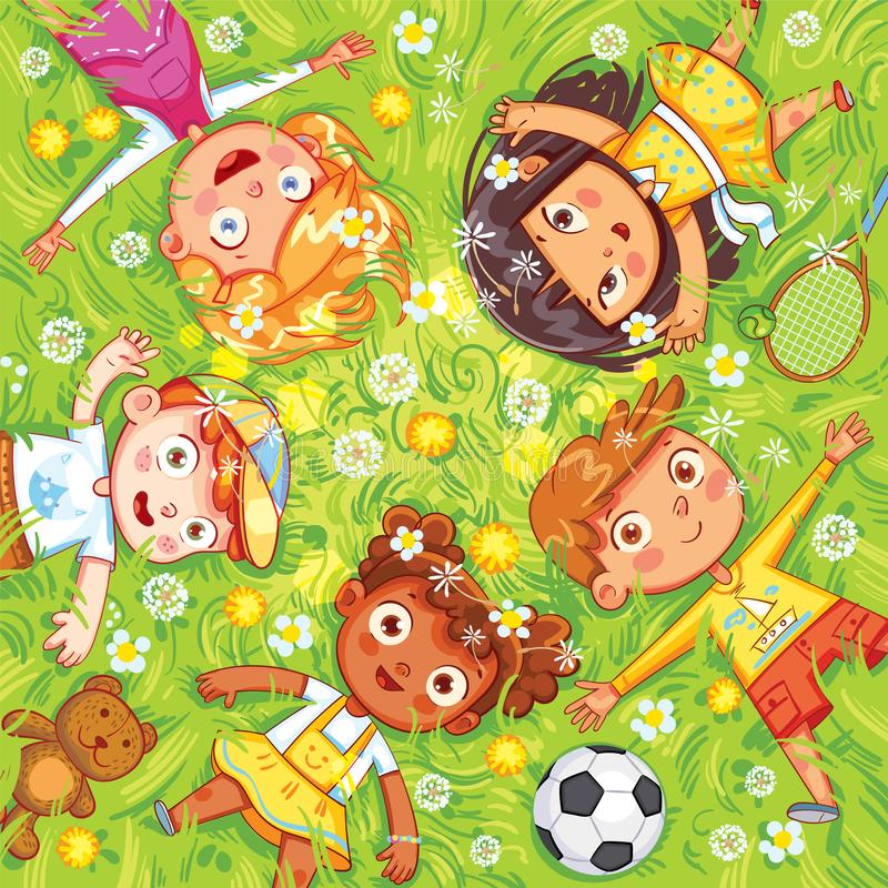Children lie on the meadow. International Children`s Day or Earth Day. Children lie on the meadow. Camera Angle downward. Funny cartoon character. Vector royalty free illustration
