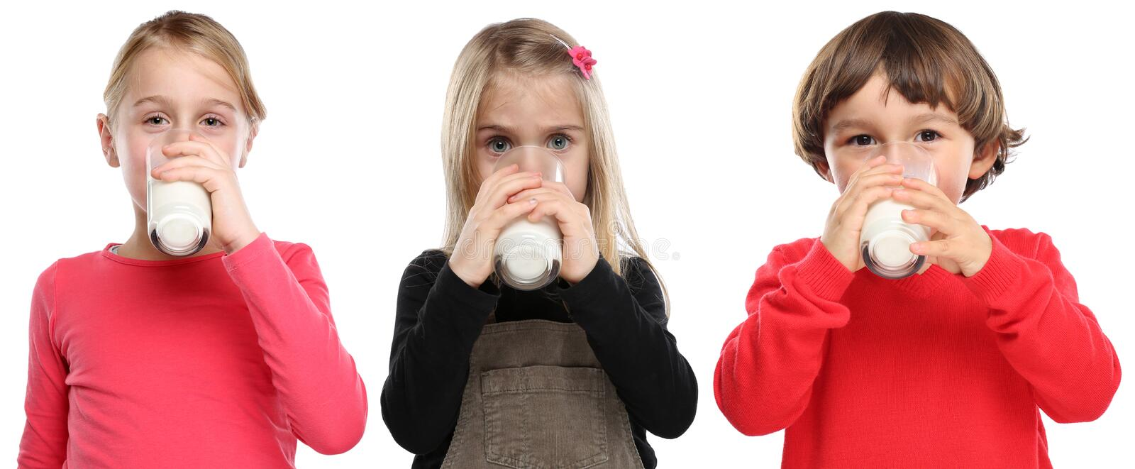 Children little girl boy child drinking milk kid glass healthy e. Ating isolated on a white background royalty free stock photos