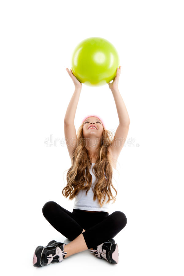 Download Children Little Gym Girl With Green Yoga Ball Stock Photo - Image: 20983700