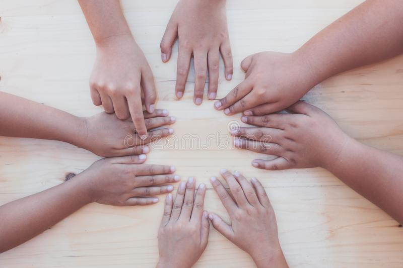 Children little kids playing circle point finger game. With fun together stock images