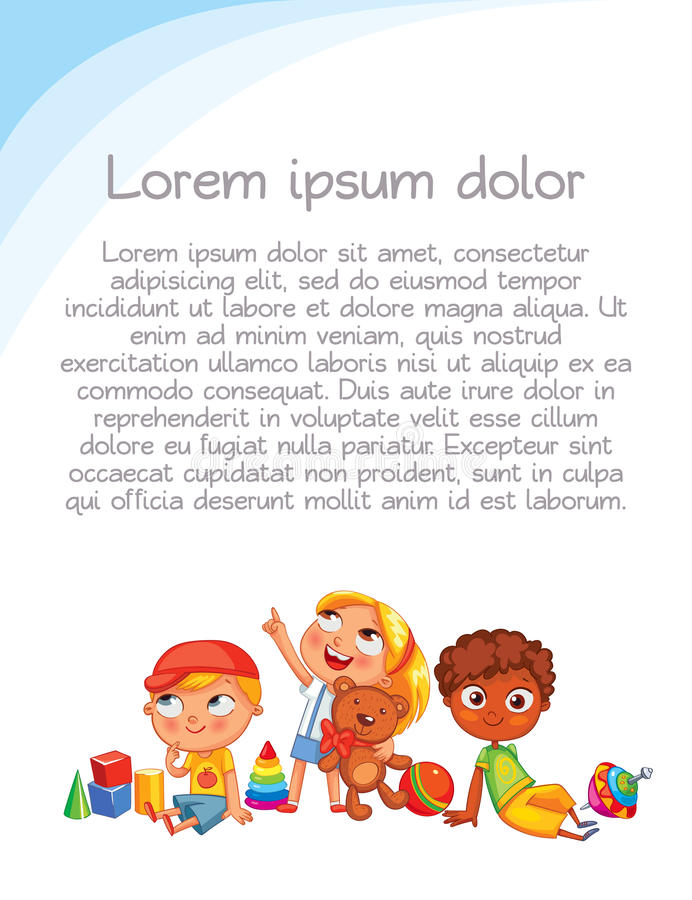 Children look up with interest. Colorful template for advertising brochure. Playground. Colorful template for advertising brochure. Ready for your message stock illustration