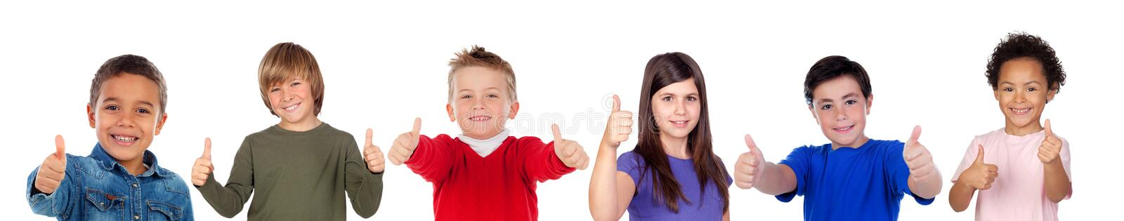 Children looking at camera stock photo