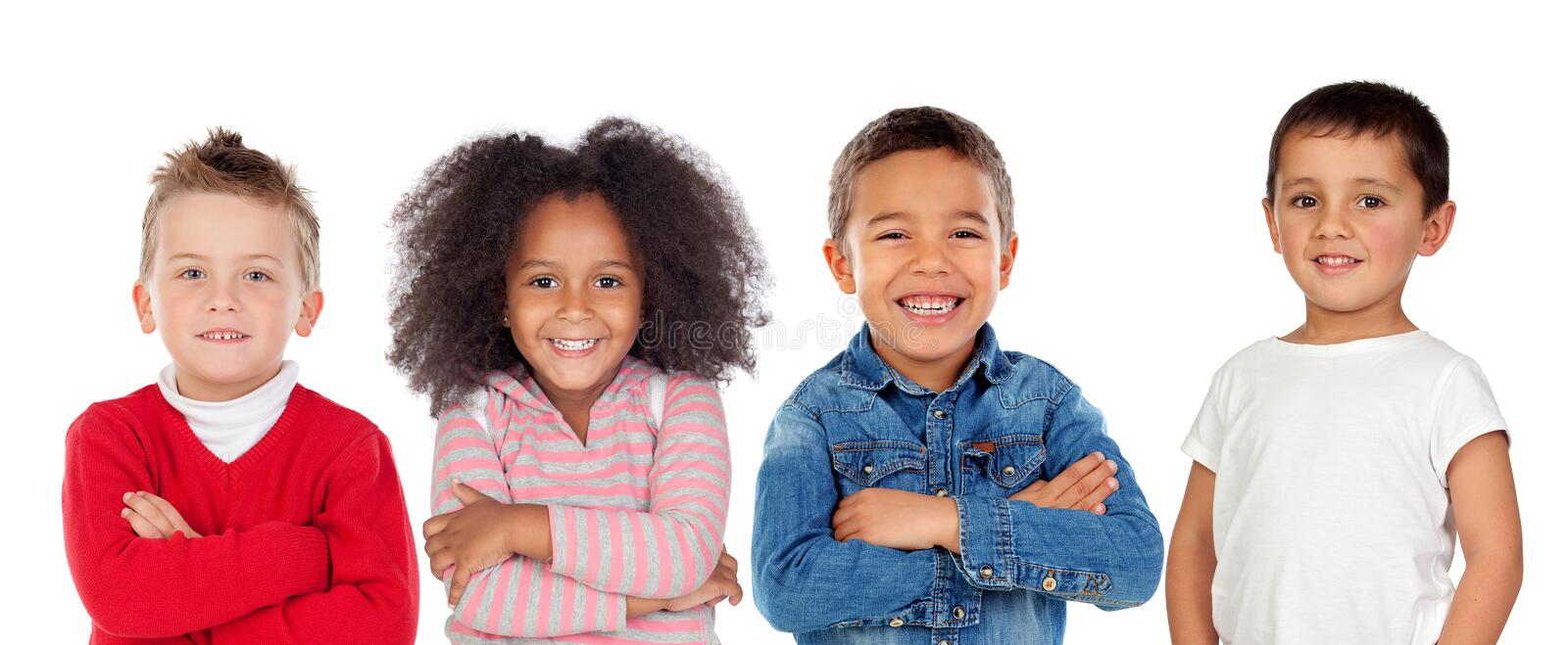 Children looking at camera stock photography