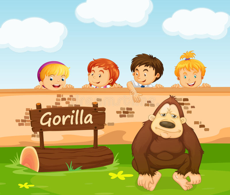 Children looking at gorilla in the zoo vector illustration