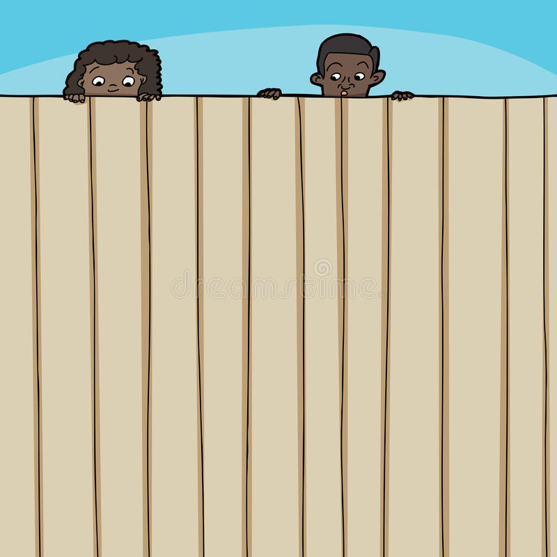 Children Looking Over Fence vector illustration