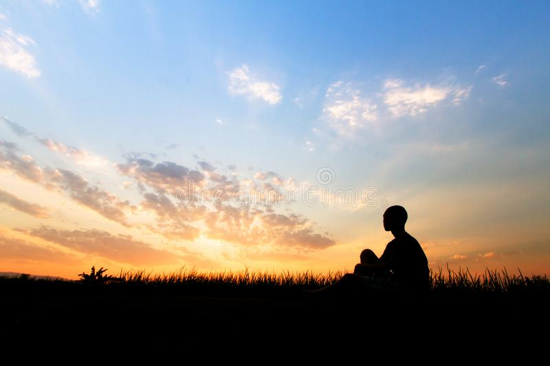 Children looking sunset sky with sadness face and human trafficking. And disadvantaged concept royalty free stock photos