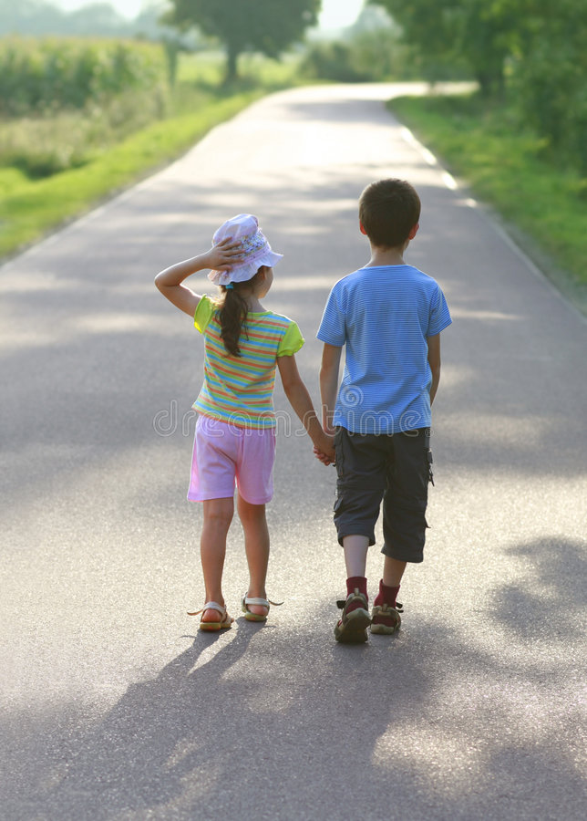 Children love. Hansel and Gretel, road to sun, children love, hold hands stock images