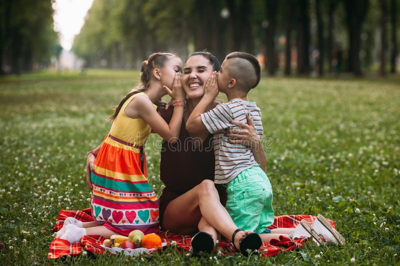 Children love mother nature picnic concept. royalty free stock images