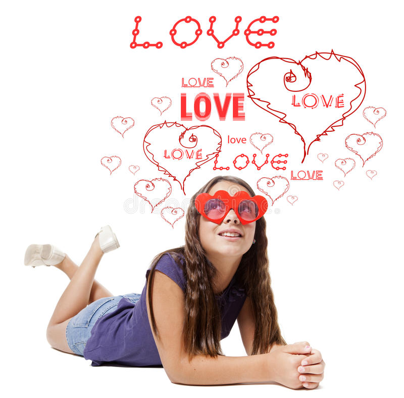 Children in love. With red heart and words royalty free stock images