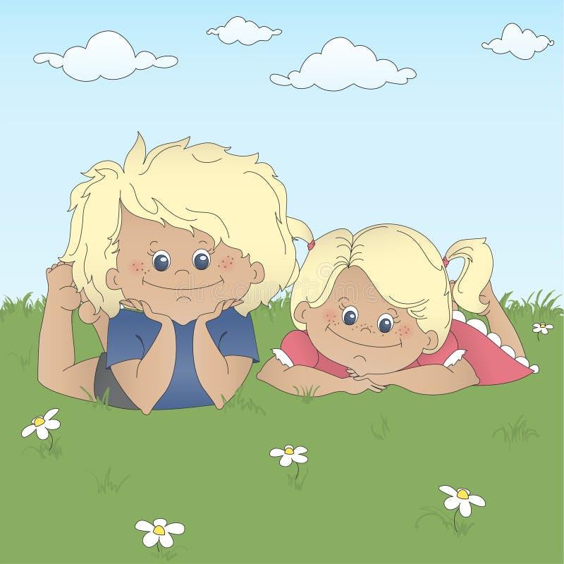 Children lying on a grass. Vector illustration stock illustration