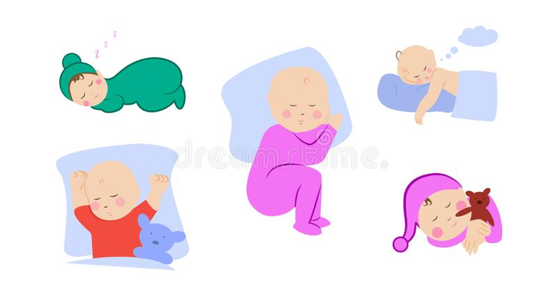 Children lying on pillow under blanket. Set with cute little baby sleeping. Boy with teddy bear in bed. Girl sleep on stomach. vector illustration