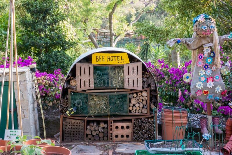 Children made bee hotel stock photos