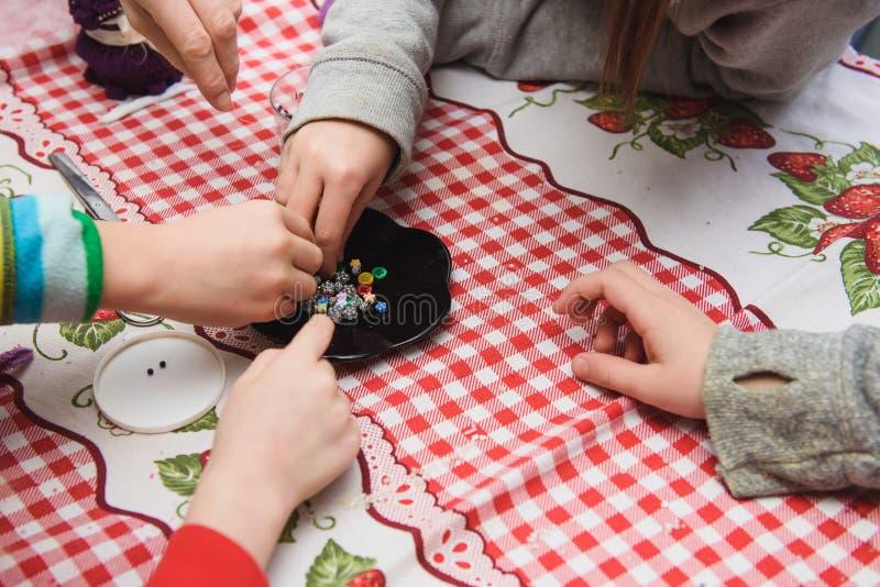 Children make crafts stock photos