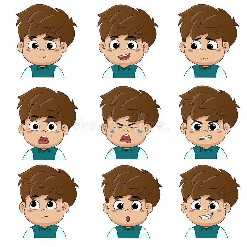The children make the face many of the emotions such as smile, happy, laugh, sad, surprise, cry, tears, upset, angry, thinking royalty free illustration