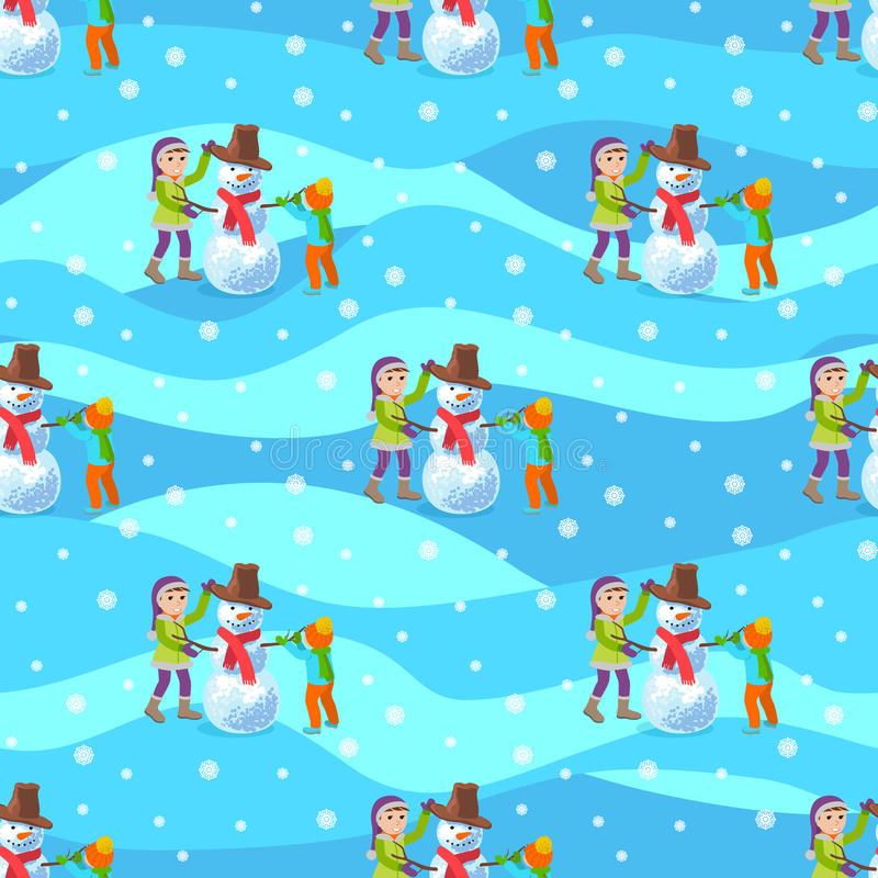 Children make a snowman. Illustration winter seamless background. Vector illustration seamless pattern. Children make a snowman in winter stock illustration