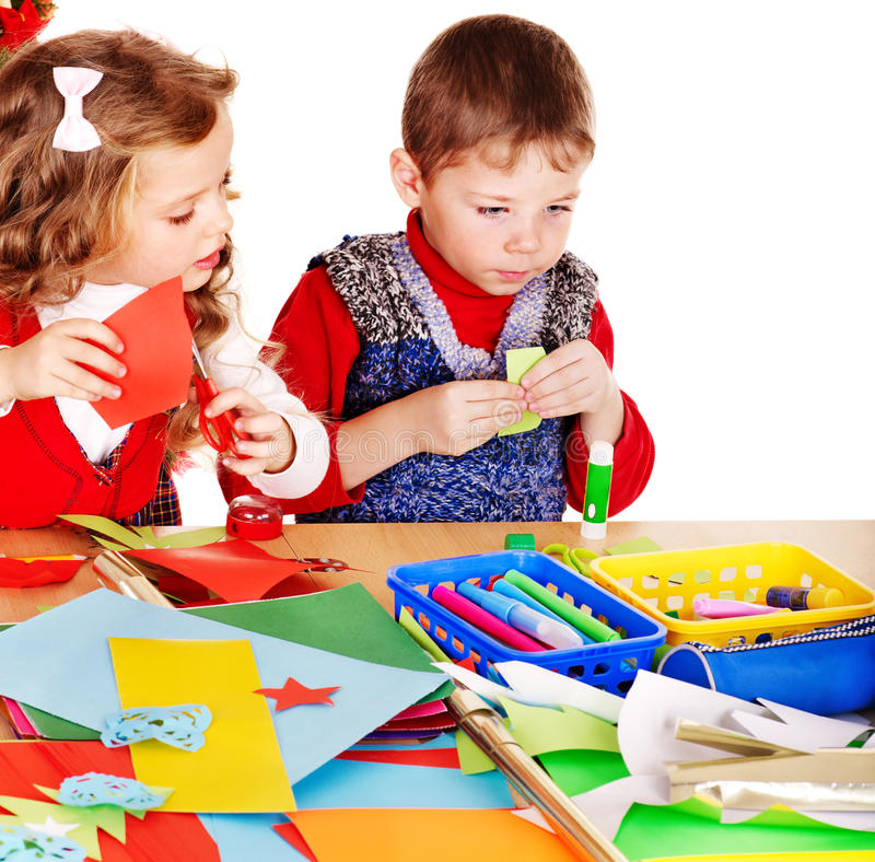 Children making card. royalty free stock photography