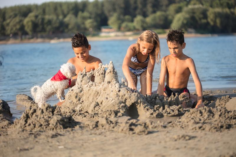 Children making sand castle at tropical beach. Happy children playing on the beach stock photography