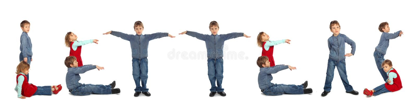 Children making wod LETTERS collage stock images