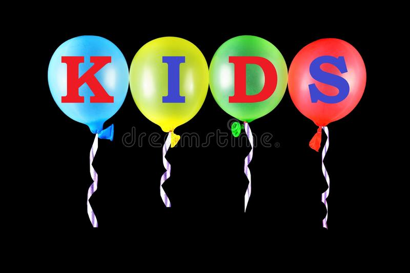 Children of man in childhood - the letters of the alphabet on colorful latex balloons. The colors are green, yellow, red, blue,. Have the ability to fly stock photography