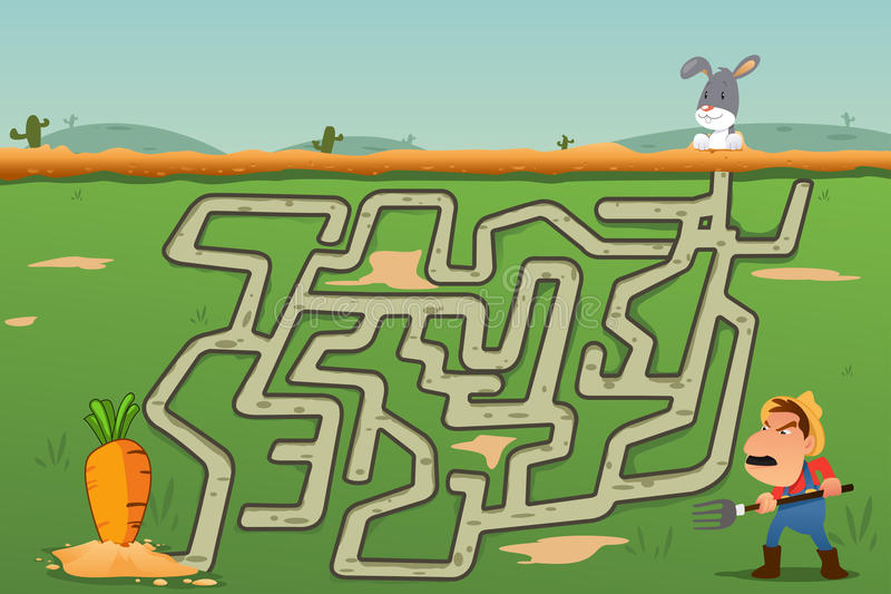 Children Maze Game of Rabbit and Carrot. A vector illustration of Children Maze Game of Rabbit and Carrot royalty free illustration