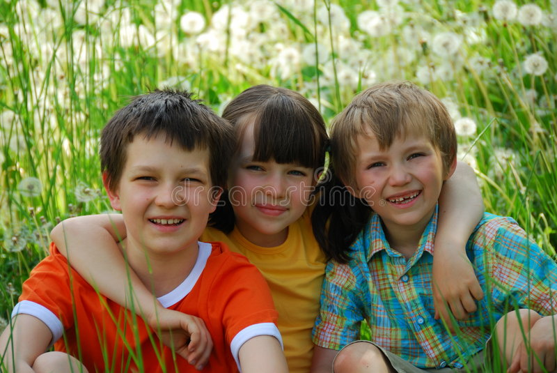 Children in meadow royalty free stock photography