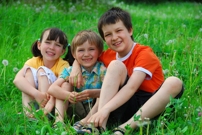 Children in meadow royalty free stock photo