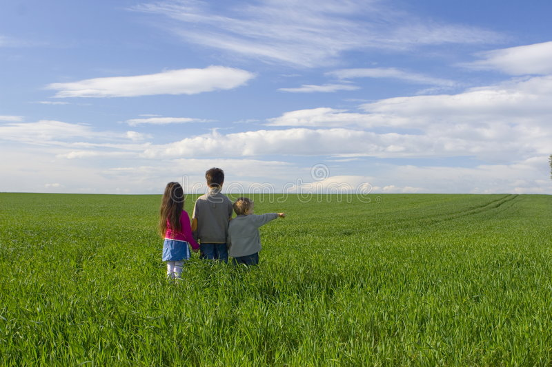 Children on meadow royalty free stock image