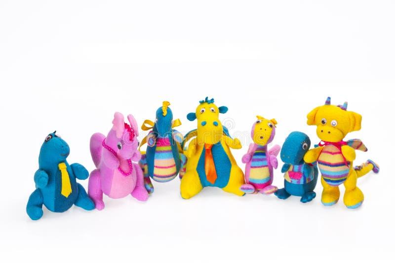 Children miękkie zabawki ja odizolowywa na bielu obrazy royalty free