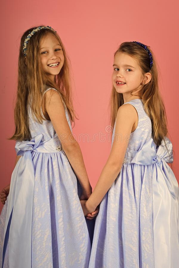 Children model. Fashion kids have fun relaxing in studio royalty free stock photos