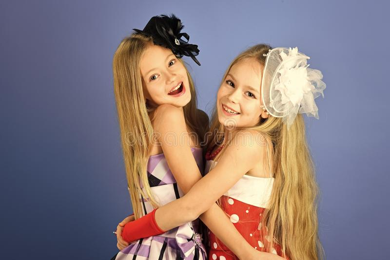 Children model. Friendship, look and hairdresser for wedding. friendship and family values. stock images
