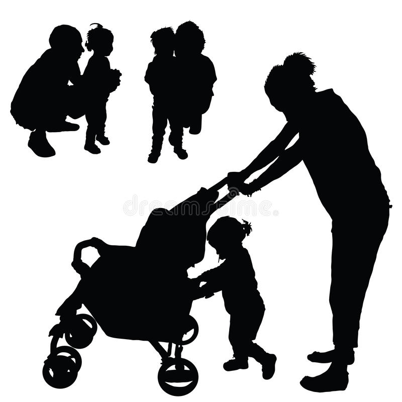 Children with mom and dad illustration silhouette vector illustration